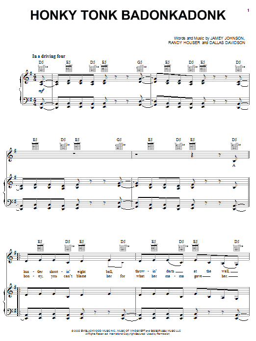 Trace Adkins Honky Tonk Badonkadonk sheet music preview music notes and score for Easy Guitar Tab including 4 page(s)