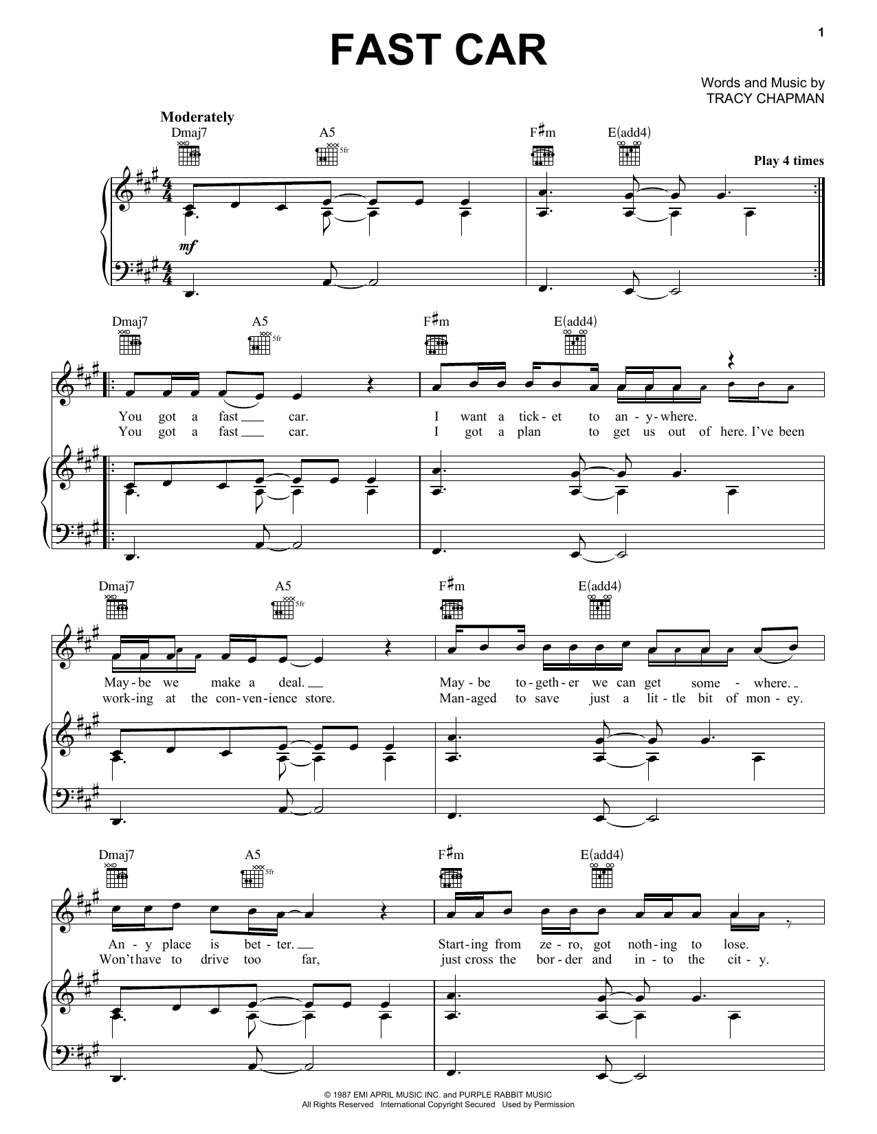 Tracy Chapman Fast Car sheet music preview music notes and score for Lyrics & Piano Chords including 5 page(s)