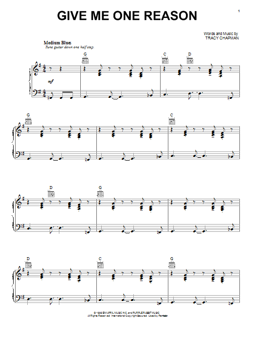 Tracy Chapman Give Me One Reason sheet music preview music notes and score for Lyrics & Piano Chords including 4 page(s)