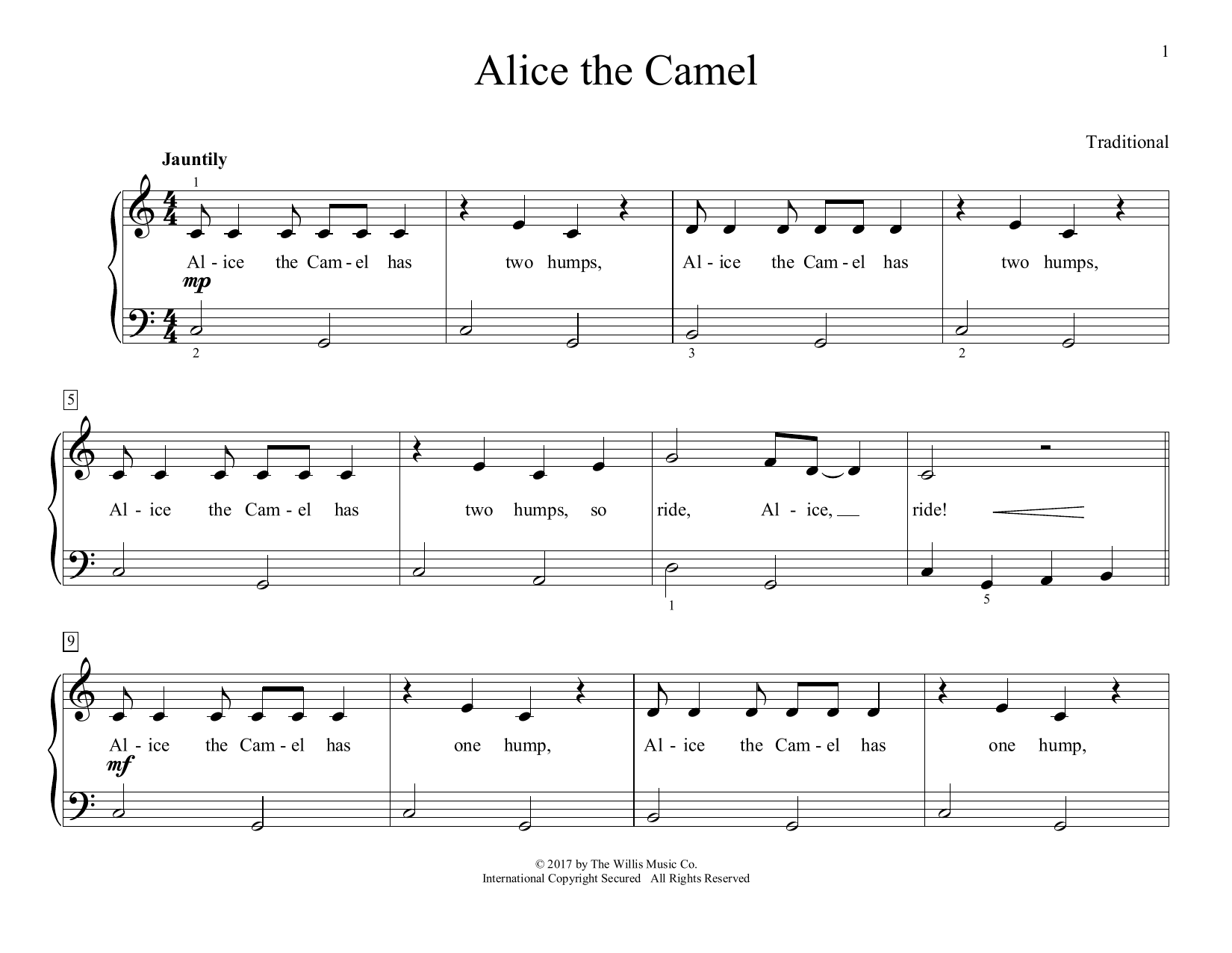 Traditional Alice The Camel (arr. Christopher Hussey) sheet music preview music notes and score for Educational Piano including 2 page(s)