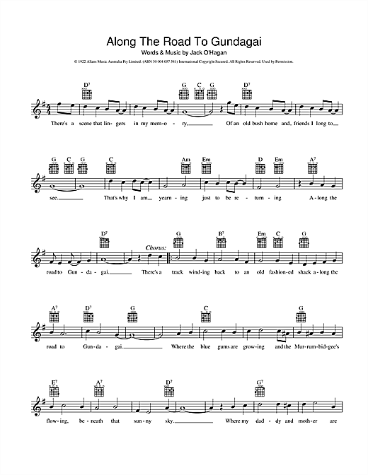 Traditional Along The Road To Gundagai sheet music preview music notes and score for Melody Line, Lyrics & Chords including 2 page(s)