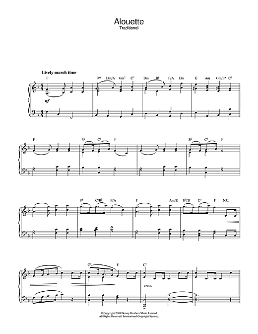 Download Traditional 'Alouette' Digital Sheet Music Notes & Chords and start playing in minutes