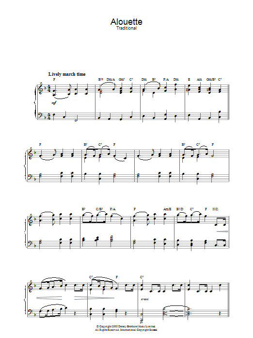 Traditional Alouette sheet music preview music notes and score for Piano including 2 page(s)
