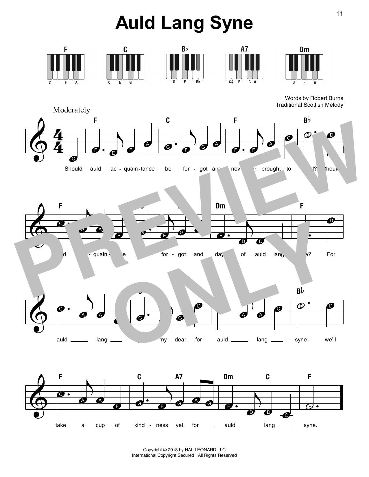 Download Traditional 'Auld Lang Syne' Digital Sheet Music Notes & Chords and start playing in minutes
