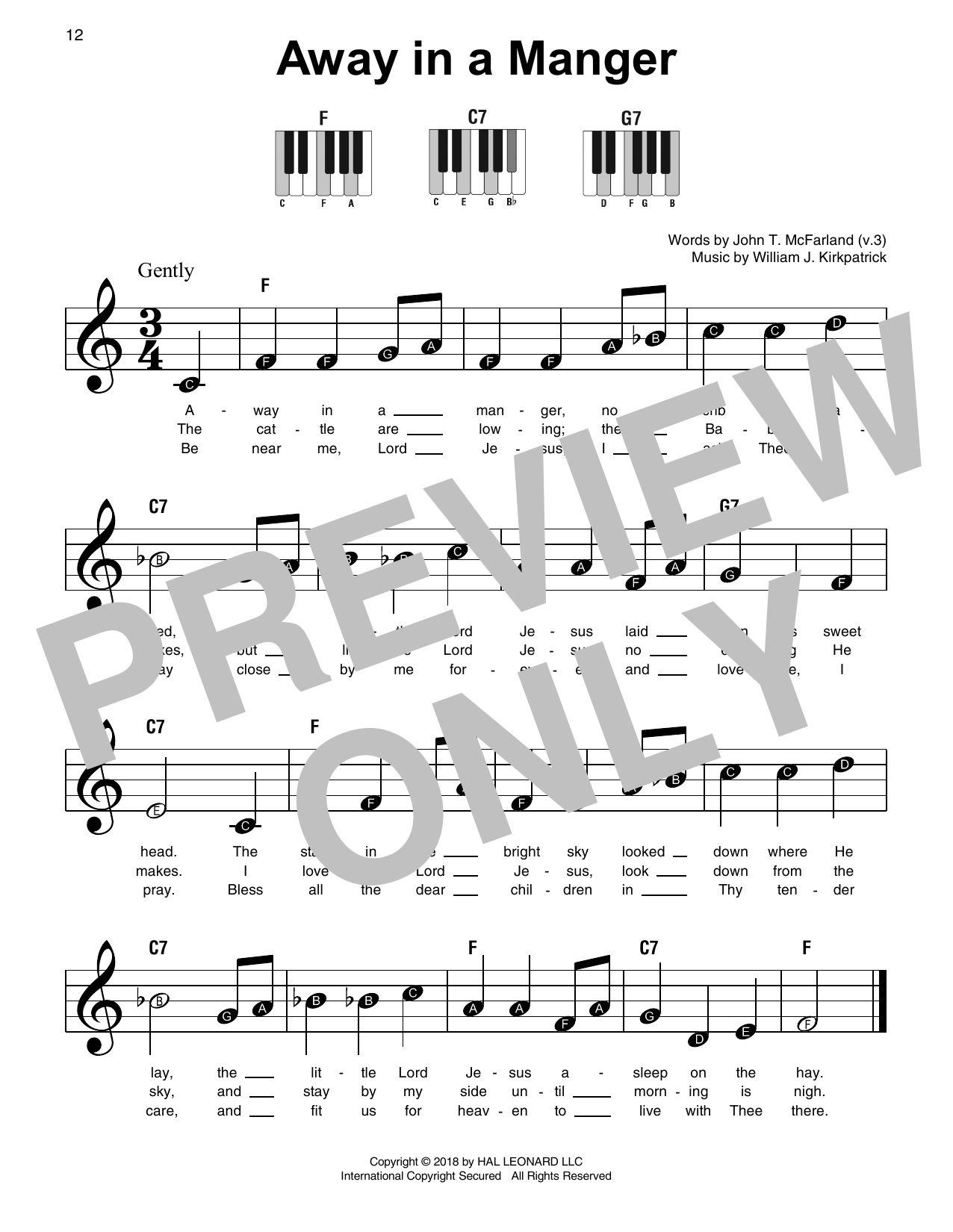Traditional Away In A Manger sheet music notes and chords