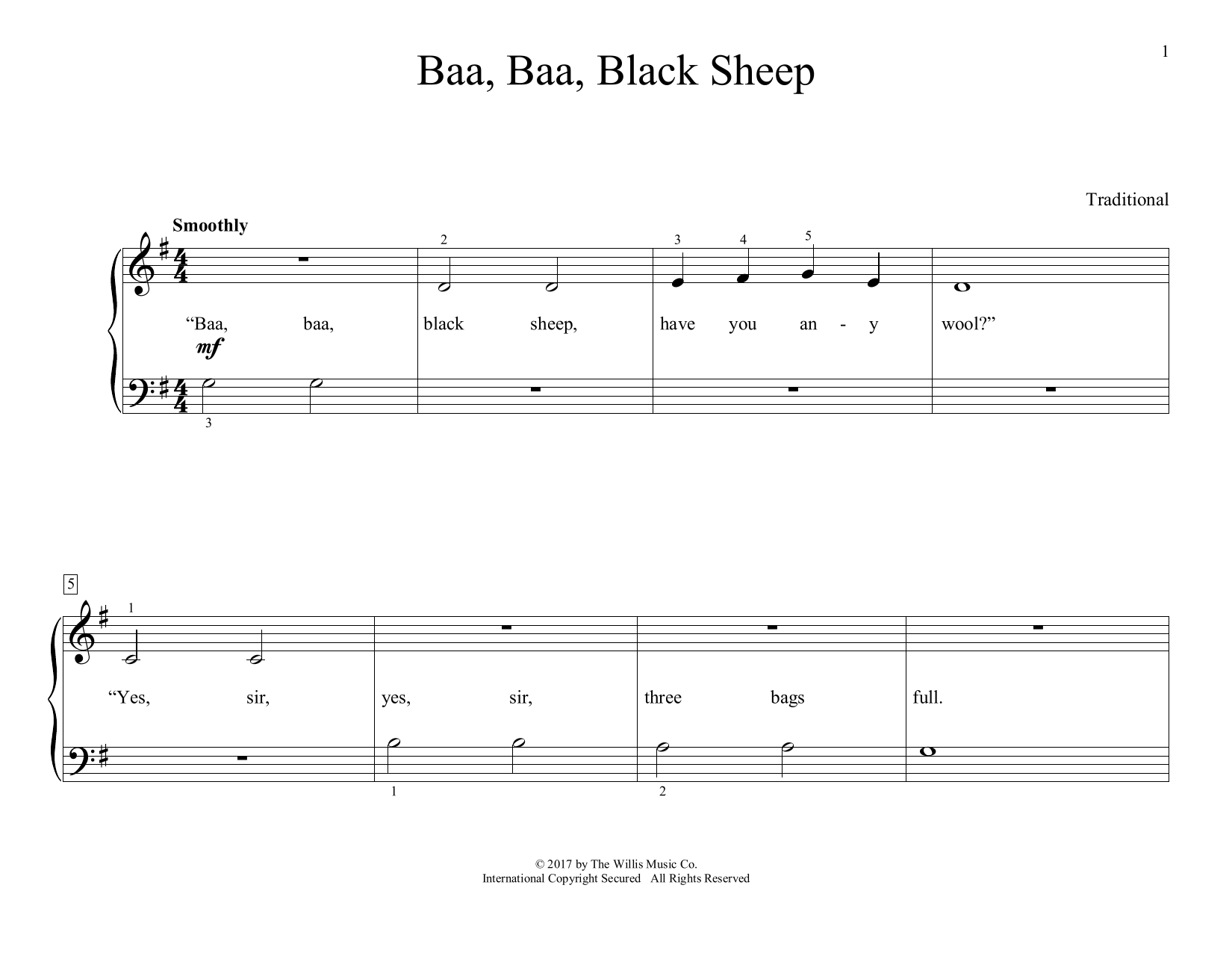 Traditional Baa, Baa, Black Sheep (arr. Christopher Hussey) sheet music preview music notes and score for Educational Piano including 2 page(s)