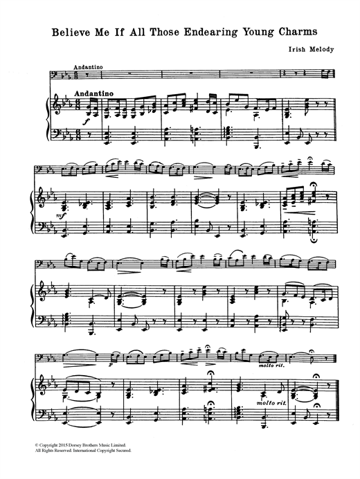 Download Traditional 'Believe Me If All Those Endearing Young Charms' Digital Sheet Music Notes & Chords and start playing in minutes