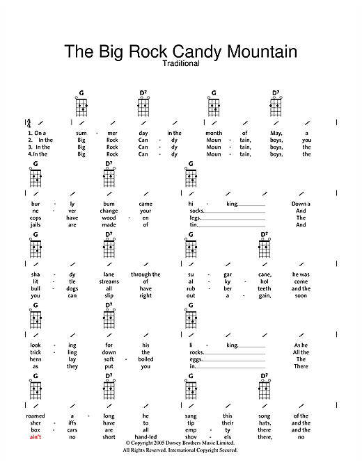 Traditional Big Rock Candy Mountain sheet music preview music notes and score for Ukulele with strumming patterns including 2 page(s)