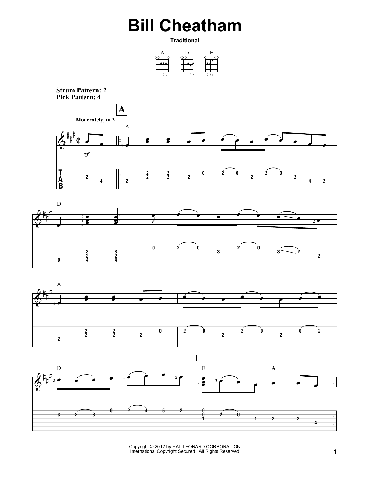 Download Traditional 'Bill Cheatham' Digital Sheet Music Notes & Chords and start playing in minutes
