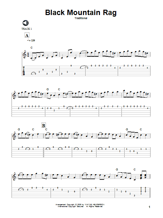 Traditional Black Mountain Rag sheet music preview music notes and score for Guitar Tab including 8 page(s)