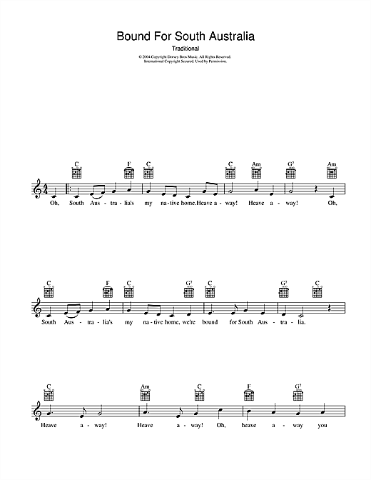 Traditional Bound For South Australia sheet music preview music notes and score for Melody Line, Lyrics & Chords including 2 page(s)