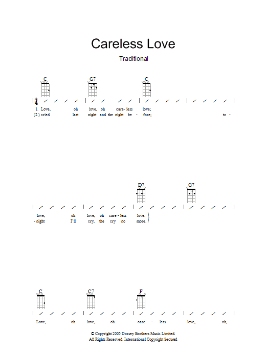 Traditional Careless Love sheet music preview music notes and score for Ukulele with strumming patterns including 2 page(s)