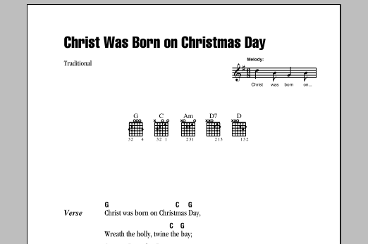 Traditional Christ Was Born On Christmas Day sheet music preview music notes and score for E-Z Play Today including 2 page(s)