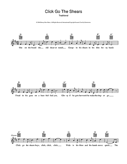 Traditional Click Go The Shears sheet music preview music notes and score for Melody Line, Lyrics & Chords including 2 page(s)