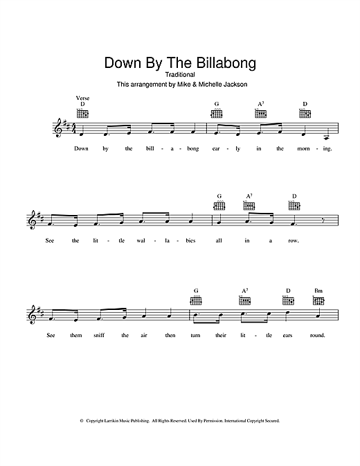 Traditional Down By The Billabong sheet music preview music notes and score for Melody Line, Lyrics & Chords including 2 page(s)
