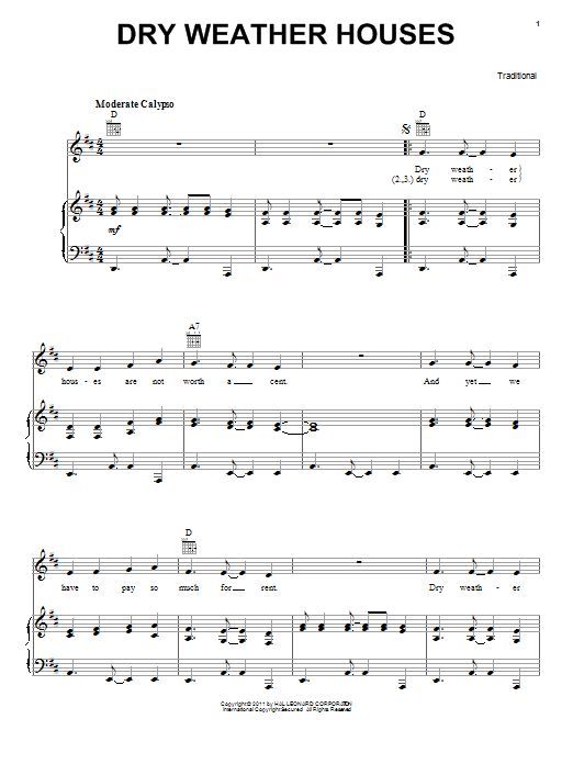 Traditional Dry Weather Houses sheet music preview music notes and score for Piano, Vocal & Guitar (Right-Hand Melody) including 3 page(s)