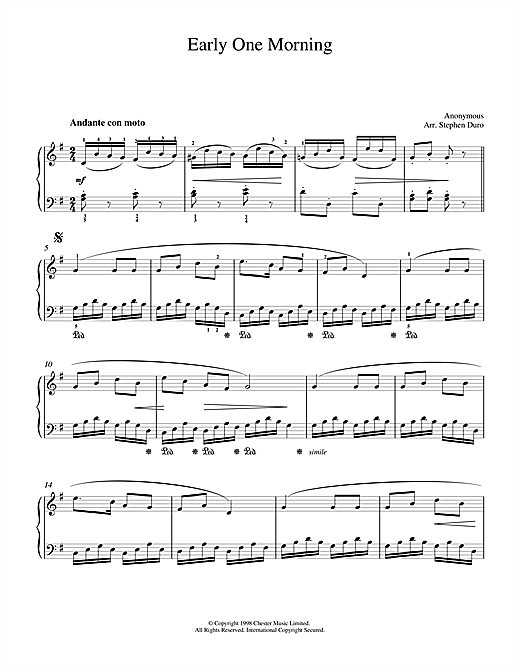 Download Traditional 'Early One Morning' Digital Sheet Music Notes & Chords and start playing in minutes
