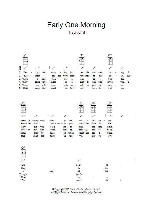 Traditional Early One Morning sheet music preview music notes and score for Ukulele with strumming patterns including 2 page(s)