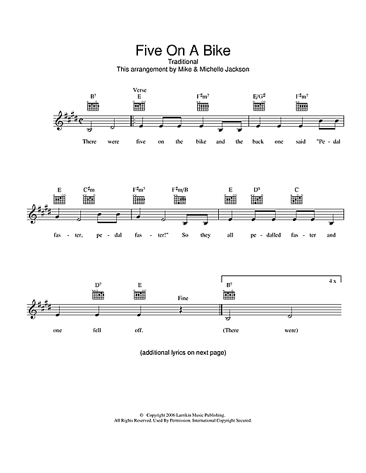 Traditional Five On A Bike sheet music preview music notes and score for Melody Line, Lyrics & Chords including 2 page(s)