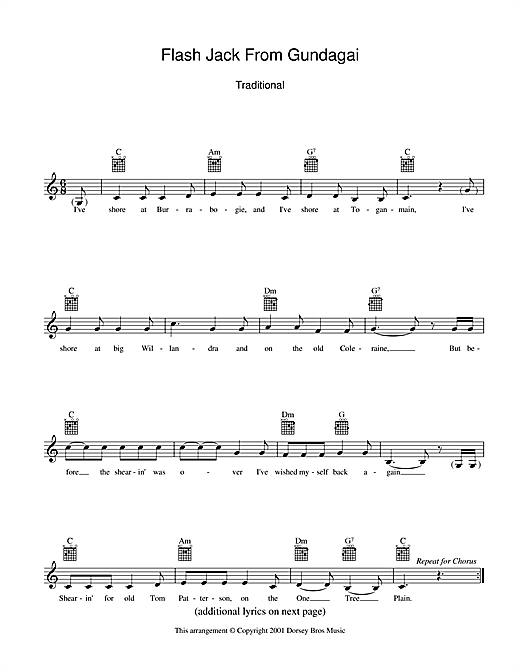 Traditional Flash Jack From Gundagai sheet music preview music notes and score for Melody Line, Lyrics & Chords including 2 page(s)