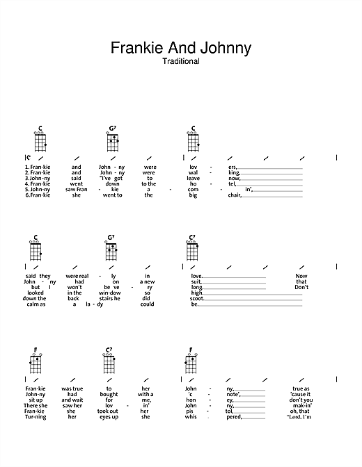 Traditional Frankie And Johnny sheet music preview music notes and score for Ukulele with strumming patterns including 2 page(s)