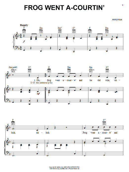 Traditional Frog Went A-Courtin' sheet music notes and chords
