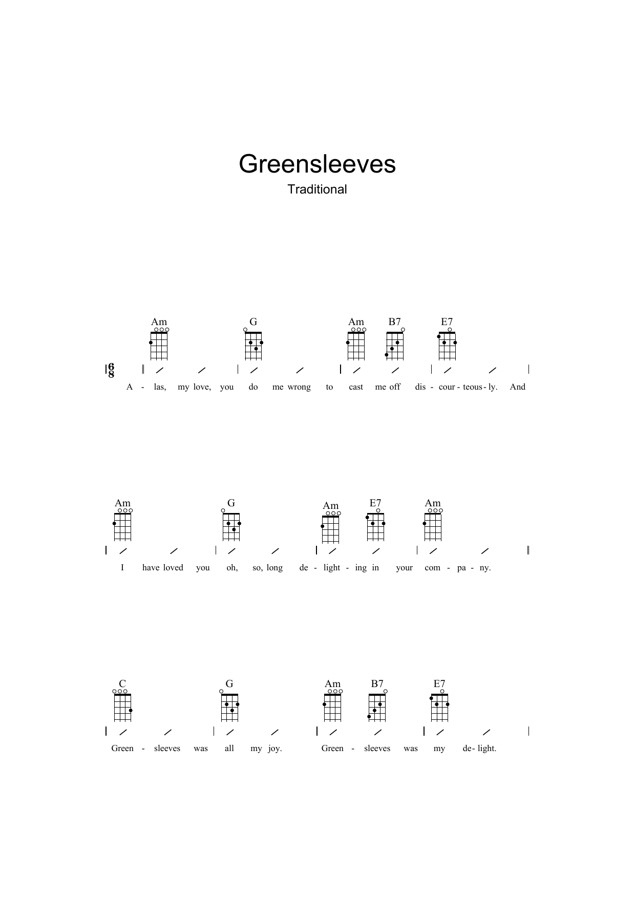 Traditional Greensleeves sheet music preview music notes and score for Ukulele with strumming patterns including 2 page(s)