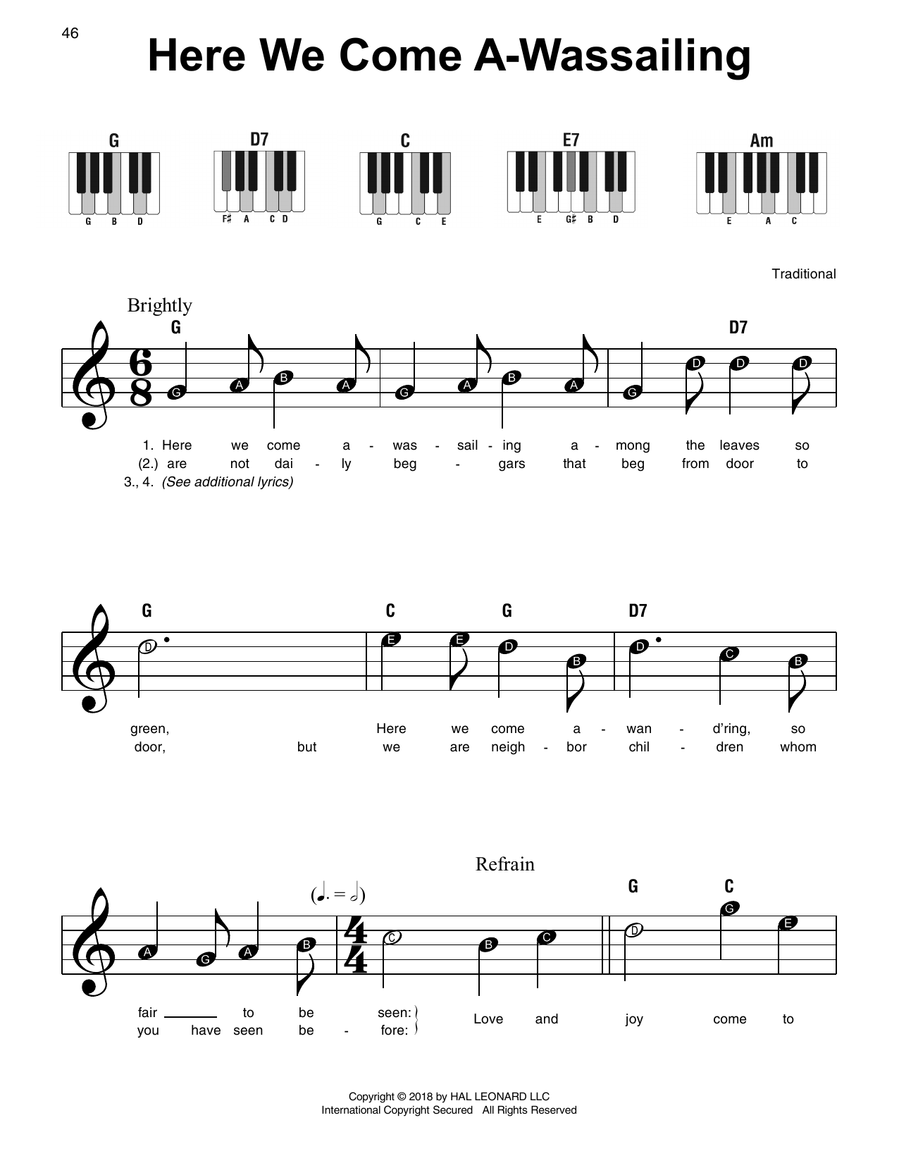 Traditional Here We Come A-Wassailing sheet music notes and chords