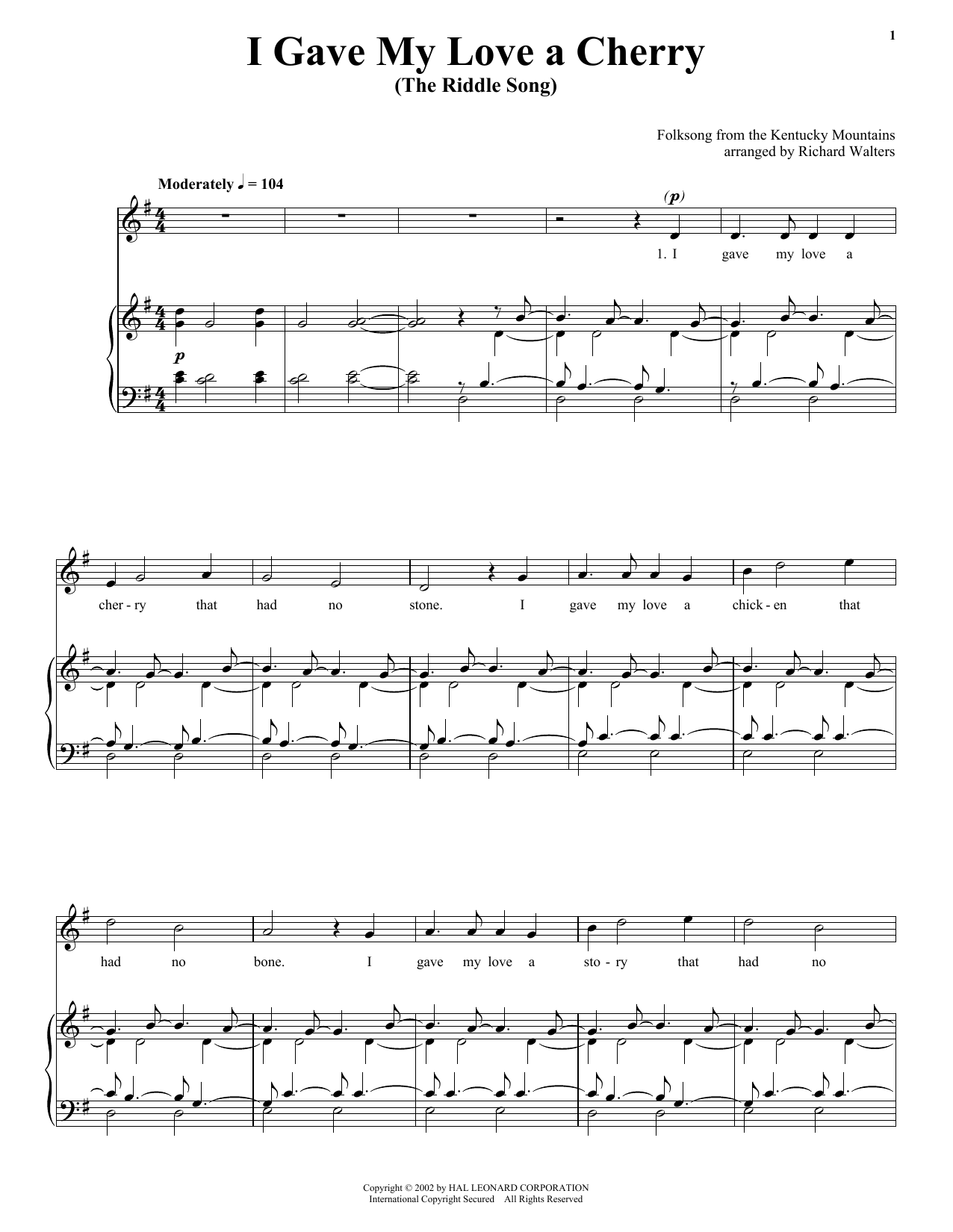 Traditional I Gave My Love A Cherry (The Riddle Song) sheet music preview music notes and score for Piano, Vocal & Guitar (Right-Hand Melody) including 4 page(s)