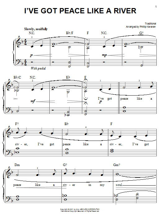 Download Traditional 'I've Got Peace Like A River' Digital Sheet Music Notes & Chords and start playing in minutes