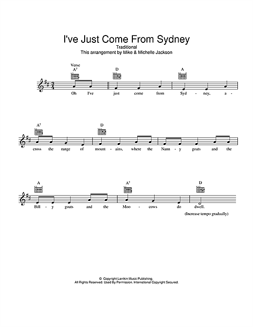 Traditional I've Just Come From Sydney sheet music preview music notes and score for Melody Line, Lyrics & Chords including 2 page(s)