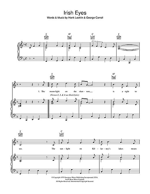 Traditional Irish Eyes sheet music notes and chords
