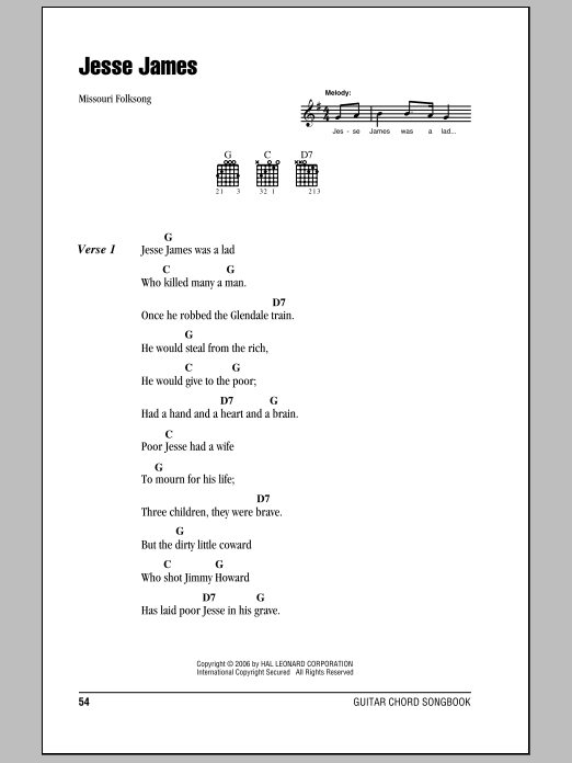 Traditional Jesse James sheet music preview music notes and score for Guitar Tab including 2 page(s)