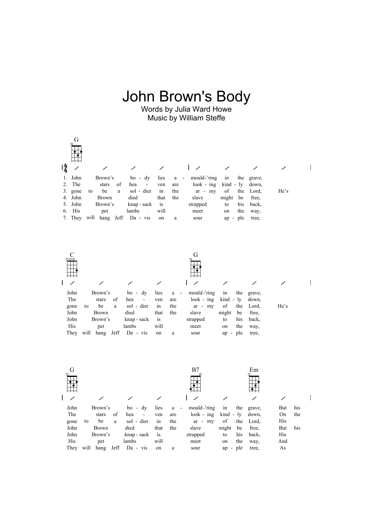 Traditional John Brown's Body sheet music preview music notes and score for Ukulele with strumming patterns including 2 page(s)