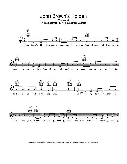 Traditional John Brown's Holden sheet music preview music notes and score for Melody Line, Lyrics & Chords including 2 page(s)