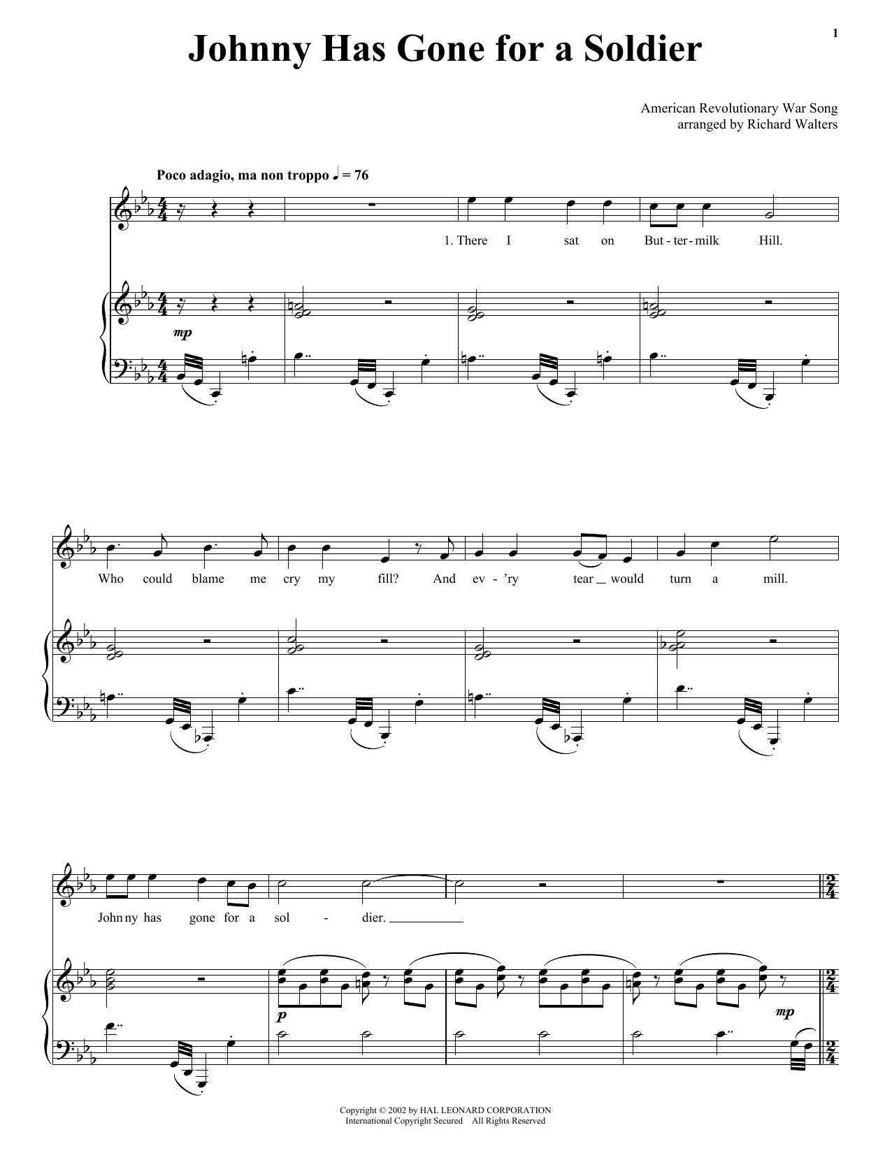 Traditional Johnny Has Gone For A Soldier sheet music preview music notes and score for Piano, Vocal & Guitar (Right-Hand Melody) including 3 page(s)