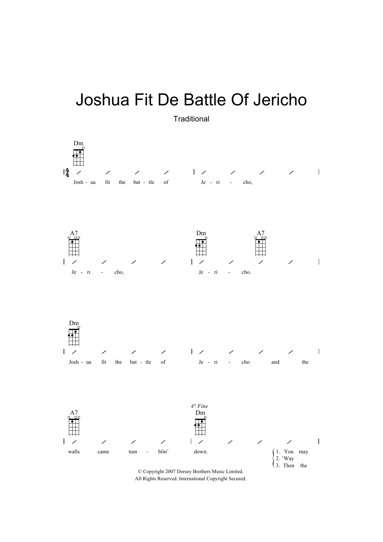 Traditional Joshua Fit De Battle Of Jericho sheet music preview music notes and score for Ukulele with strumming patterns including 2 page(s)