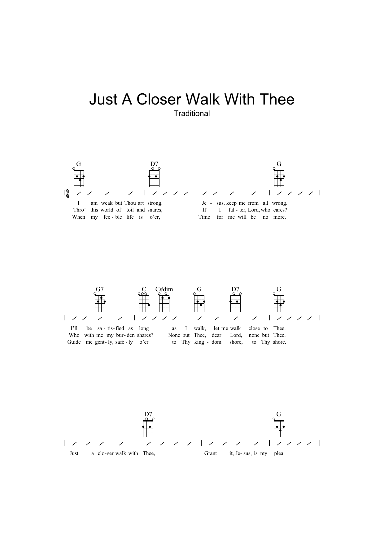 Traditional Just A Closer Walk With Thee sheet music preview music notes and score for Ukulele including 2 page(s)