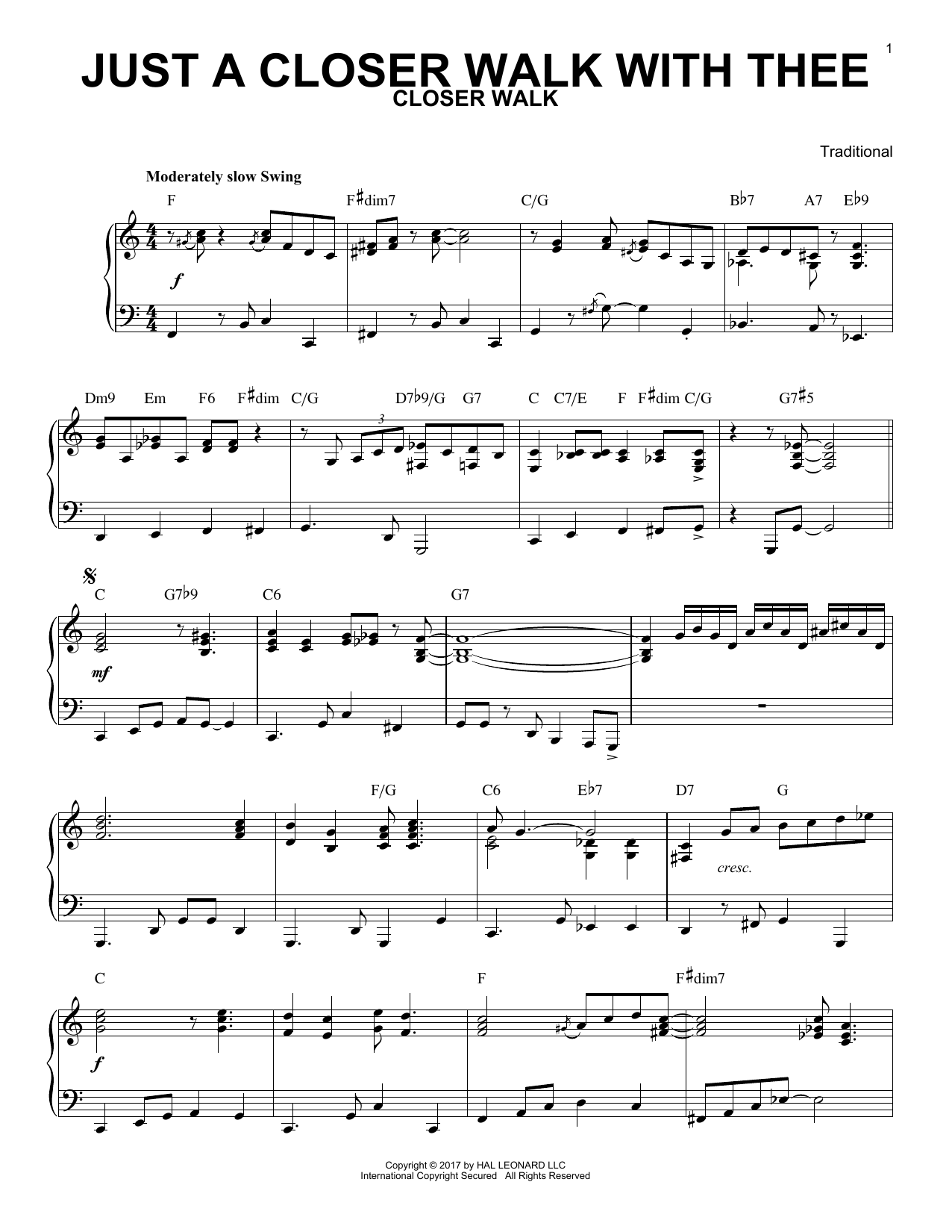 Download Traditional 'Just A Closer Walk With Thee' Digital Sheet Music Notes & Chords and start playing in minutes