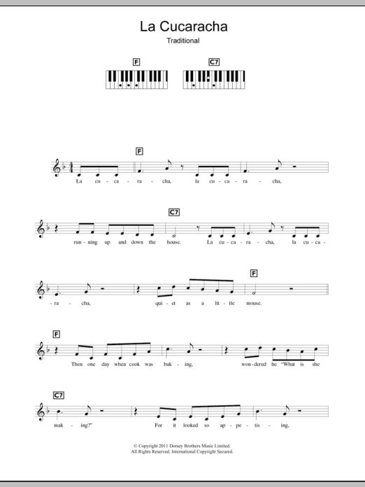 Traditional La Cucaracha (The Cockroach) sheet music preview music notes and score for Piano including 2 page(s)