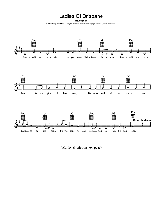 Traditional Ladies Of Brisbane sheet music preview music notes and score for Melody Line, Lyrics & Chords including 2 page(s)