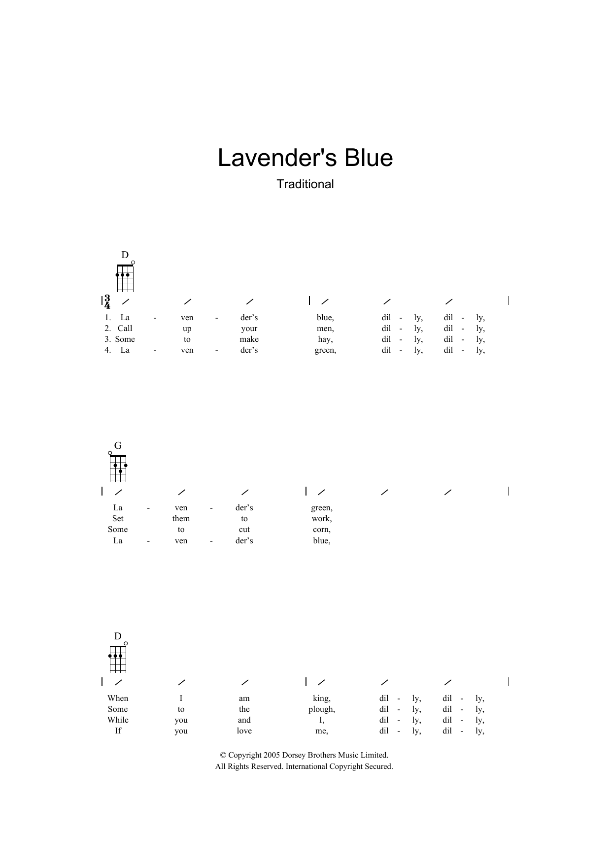 Traditional Lavender Blue sheet music preview music notes and score for Ukulele with strumming patterns including 2 page(s)