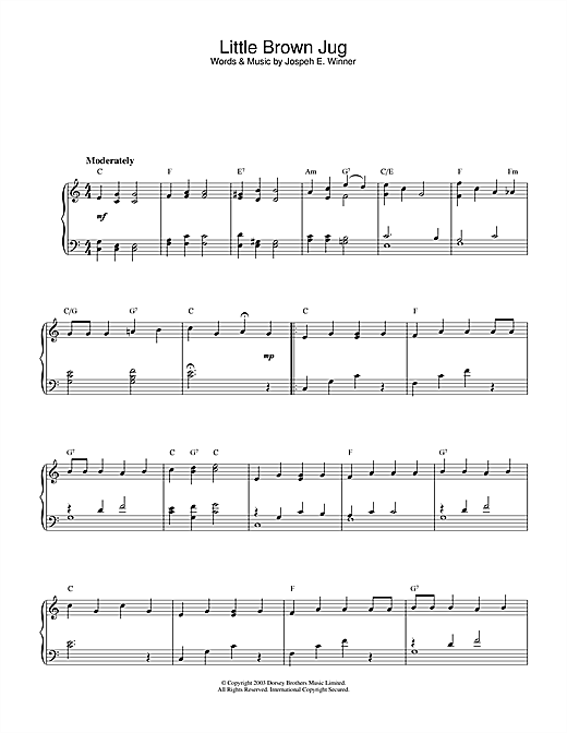 Download Traditional 'Little Brown Jug' Digital Sheet Music Notes & Chords and start playing in minutes