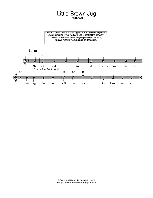 Traditional Little Brown Jug sheet music notes and chords