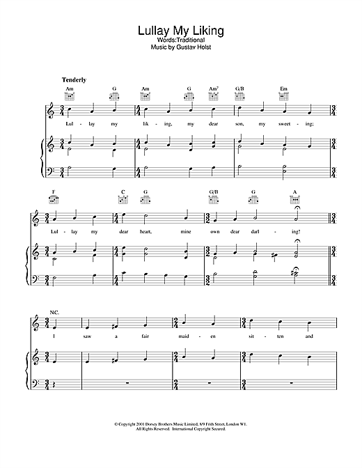 Traditional Lullay My Liking sheet music notes and chords
