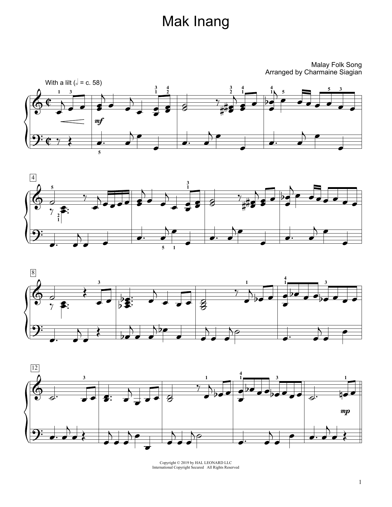 Traditional Mak Inang (arr. Charmaine Siagian) sheet music preview music notes and score for Educational Piano including 2 page(s)