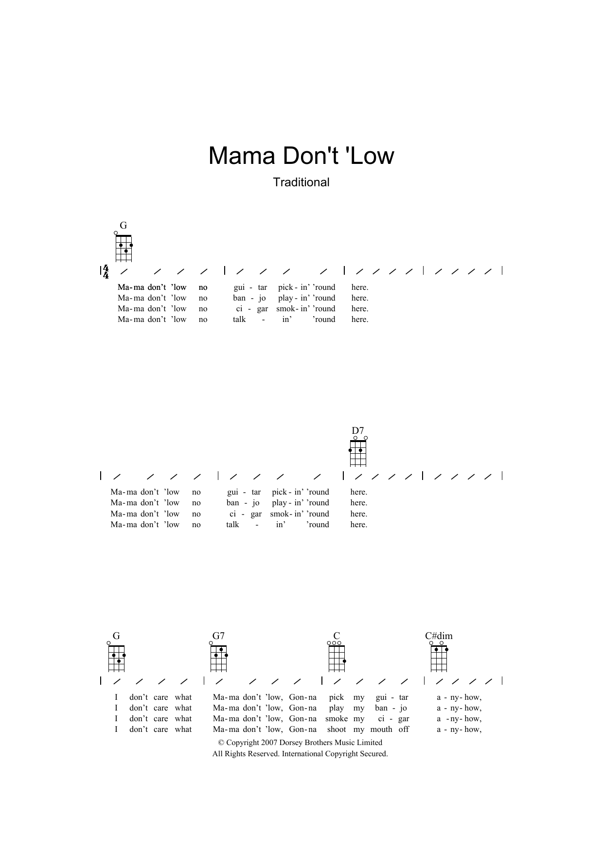 Traditional Mama Don't 'low sheet music preview music notes and score for Ukulele with strumming patterns including 2 page(s)