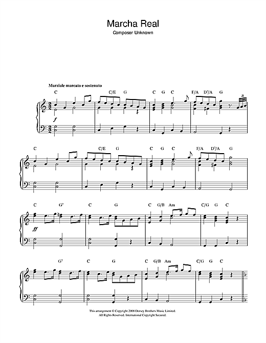 Download Traditional 'Marcha Real (Spanish National Anthem)' Digital Sheet Music Notes & Chords and start playing in minutes