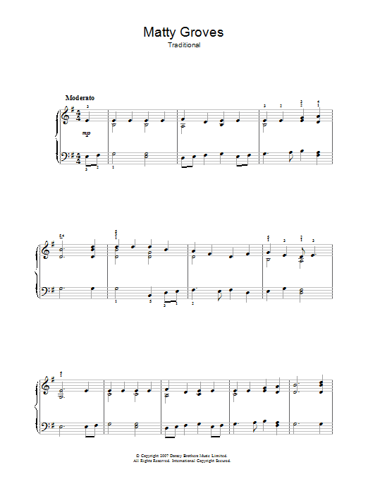 Traditional Matty Groves sheet music preview music notes and score for Beginner Piano including 2 page(s)