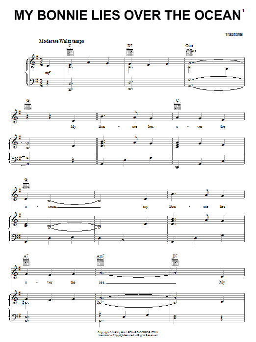 Traditional My Bonnie Lies Over The Ocean sheet music preview music notes and score for Ukulele with strumming patterns including 2 page(s)